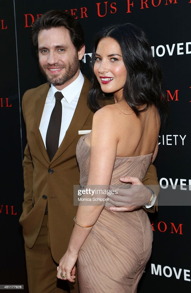 Actors Edgar Ramirez (L) and Olivia Munn attend the 'Deliver Us From Evil' screening hosted by Screen Gems & Jerry Bruckheimer Films with The Cinema Society at SVA Theater on June 24, 2014 in New York City.