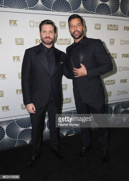 Actors Edgar Ramirez and Ricky Martin attend FOX FX and Hulu 2018 Golden Globe Awards After Party at The Beverly Hilton Hotel on January 7 2018 in...