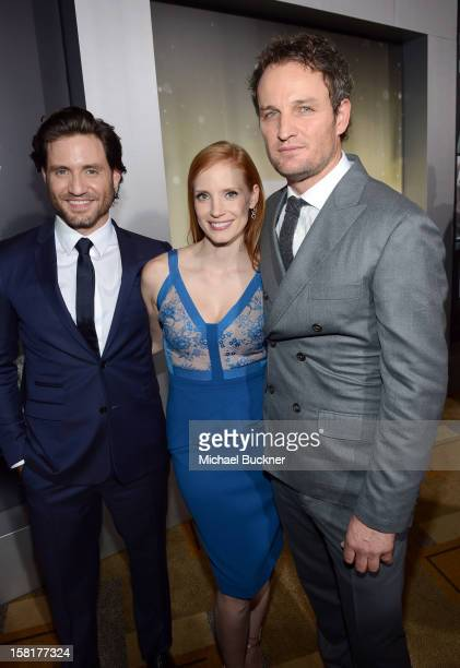 Actors Edgar Ramirez Jessica Chastain and Jason Clarke arrive at the Los Angeles premiere of Columbia Pictures' 'Zero Dark Thirty' at Dolby Theatre...