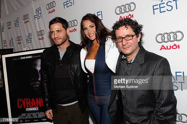 Actors Edgar Ramirez Jessika Grau and director Alberto Arvelo of the film 'Cyrano Fernandez' attend the AFI FEST 2007 presented by Audi held at the...