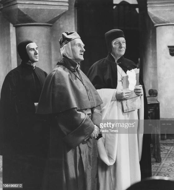Actors Edgar Wreford Maurice Denham and John Gielgud in a scene from the BBC Play of the Week 'St Joan' April 11th 1968
