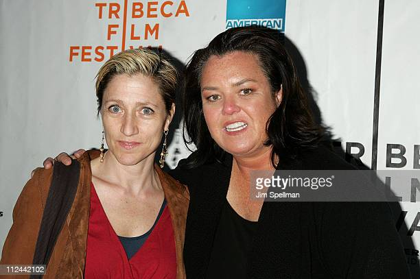 Actors Edie Falco and Rosie O'Donnell arrive at the 'Pray the Devil Back to Hell' premiere during the 7th Annual Tribeca Film Festival at the AMC...