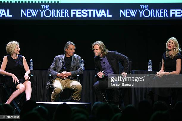 Actors Edie Falco Jeremy Irons William H Macy and Laura Dern attend The 2011 New Yorker Festival Bravura Television Panel at Acura at SIR Stage37 on...