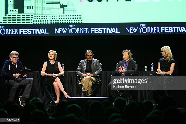 Actors Edie Falco Jeremy Irons William H Macy and Laura Dern chat with Tad Friend during The 2011 New Yorker Festival Bravura Television Panel at...
