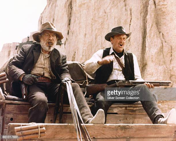 Actors Edmond O'Brien and William Holden in a scene from the western 'The Wild Bunch' 1969