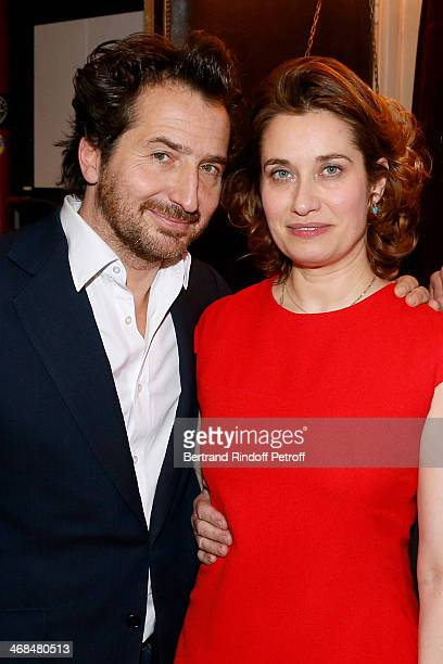 Actors Edouard Baer and Emmanuelle Devos attend 'La Porte a Cote' Theater Play premiere Held at Theatre Edouard VII on February 10 2014 in Paris...