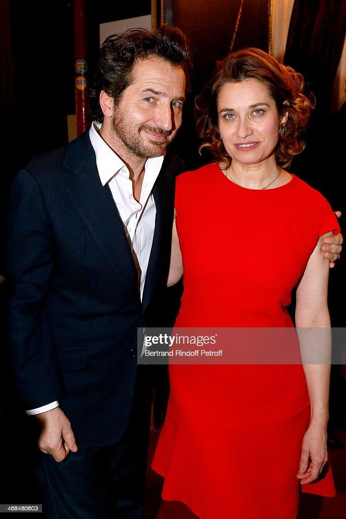 Actors Edouard Baer And Emmanuelle Devos Attend La Porte A Cote