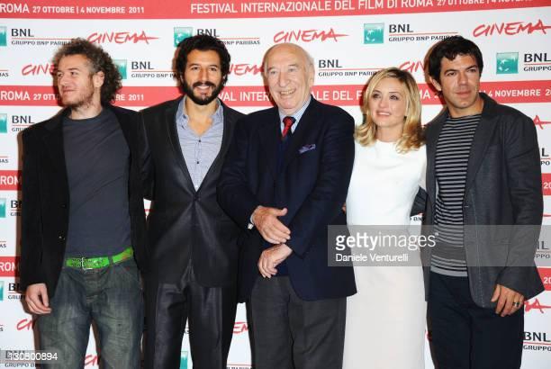 Actors Eduard Gabia Francesco Scianna director Giuliano Montaldo and actors Carolina Crescentini and Pierfrancesco Favino attend the L' Industriale...