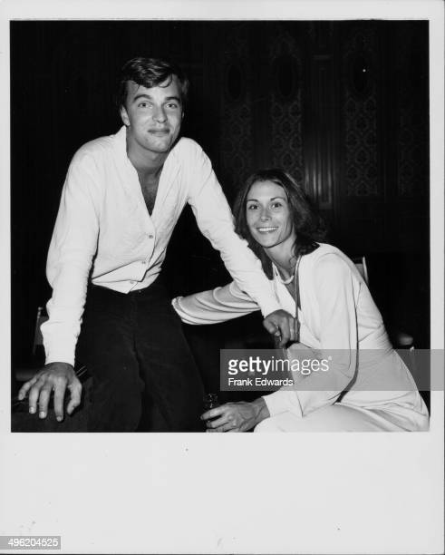 Actors Edward Albert and Kate Jackson attending the Stuntmen's Ball honoring injured actor James Stacy Hollywood September 1975
