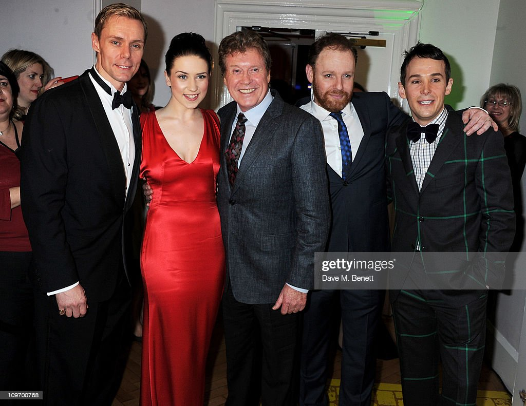 Actors Edward Baker-Duly, Danielle Hope, Michael Crawford, David Ganly and Paul Keating attend an after party following press night for Andrew Lloyd Webber's new West End production of The Wizard of Oz at One Marylebone on March 1, 2011 in London, England.
