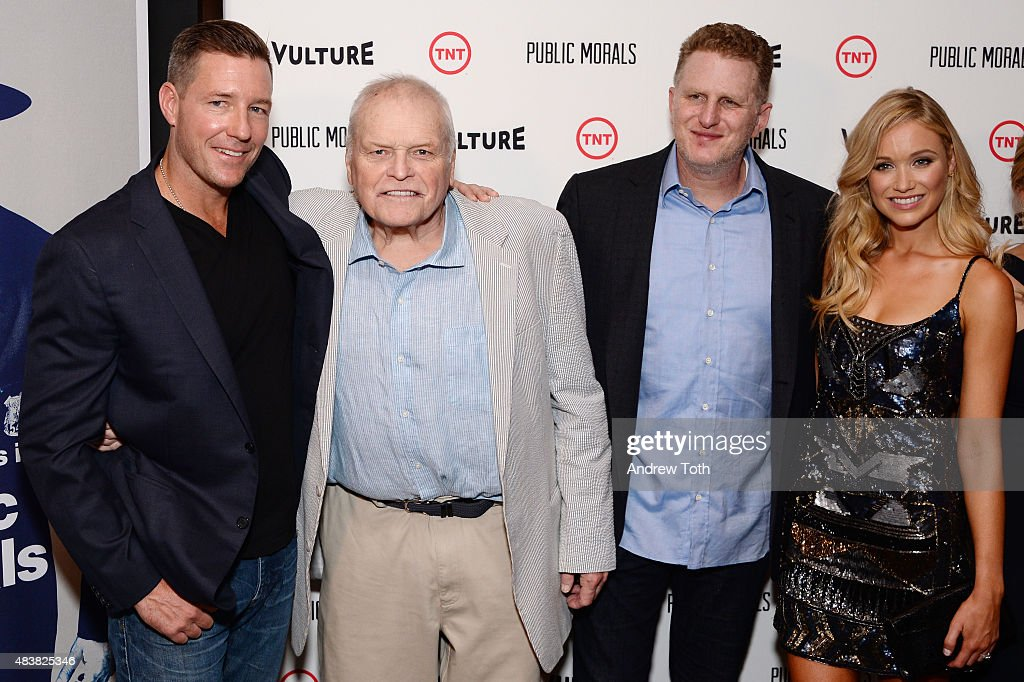 Actors Edward Burns, Brian Dennehy, Michael Rapaport, and Katrina Bowden attend the 'Public Morals' New York series screening at Tribeca Grand Screening Room on August 12, 2015 in New York City.
