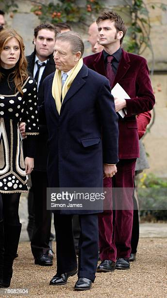 Actors Edward Fox and David Tennant leave the wedding of Billie Piper and Laurence Fox at The Parish Church of St Mary on December 31, 2007 in...