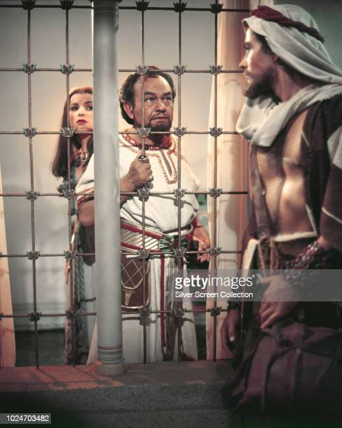 Actors Edward G. Robinson as Dathan and Debra Paget as Lilia in a scene from the biblical epic 'The Ten Commandments', 1956.