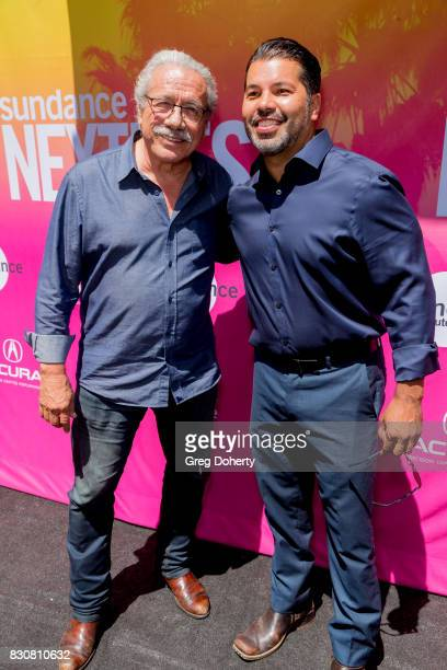 Actors Edward James Olmos and Sal Velez Jr arrive for the 2017 Sundance NEXT FEST at The Theater at The Ace Hotel on August 12 2017 in Los Angeles...