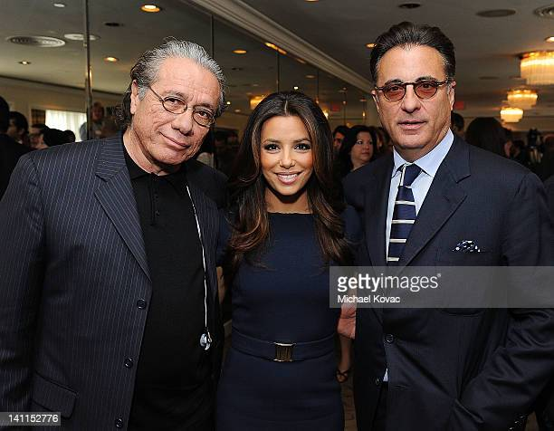 Actors Edward James Olmos Eva Longoria and Andy Garcia pose for a photo after the President of Israel addressed community leaders and engaged in a...