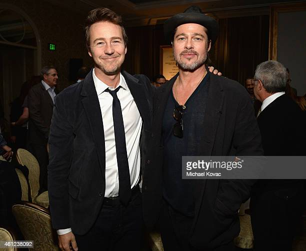 Actors Edward Norton and Brad Pitt attend the 15th Annual AFI Awards at Four Seasons Hotel Los Angeles at Beverly Hills on January 9 2015 in Beverly...