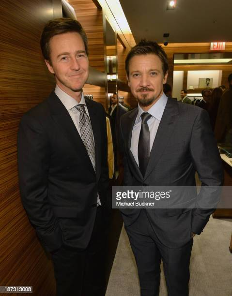 Actors Edward Norton and Jeremy Renner attend Ermenegildo Zegna Global Store Opening hosted by Gildo Zegna and Stefano Pilati at Ermenegildo Zegna...