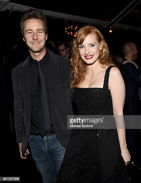 Actors Edward Norton and Jessica Chastain attend Audi celebrates Golden Globes Week 2015 at Cecconi's Restaurant on January 8 2015 in Los Angeles...