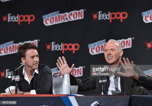 Actors Edward Norton and Michael Keaton discuss their new movie 'Birdman' at New York Comic Con 2014 at Jacob Javitz Center on October 10 2014 in New...