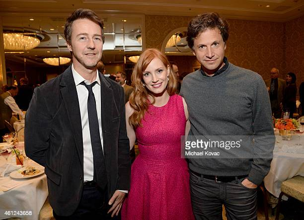 Actors Edward Norton Jessica Chastain and director Bennett Miller attend the 15th Annual AFI Awards Luncheon at Four Seasons Hotel Los Angeles at...