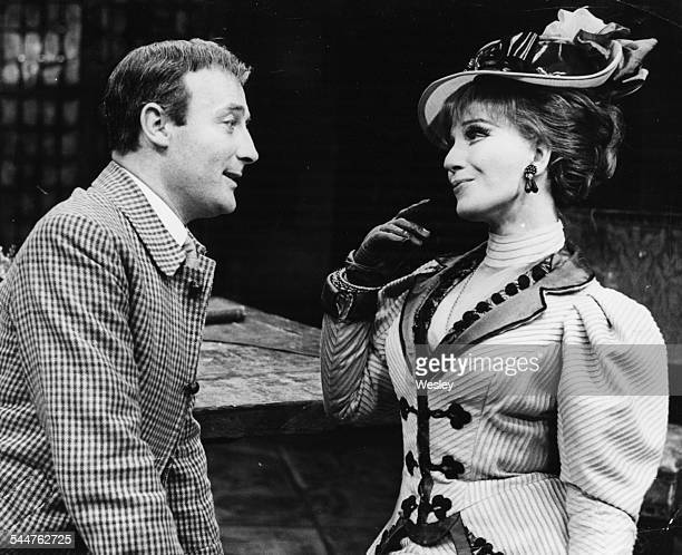 Actors Edward Woodward and Fenella Fielding during rehearsals for the play 'The High Bid' at the Mermaid Theatre London October 17th 1967