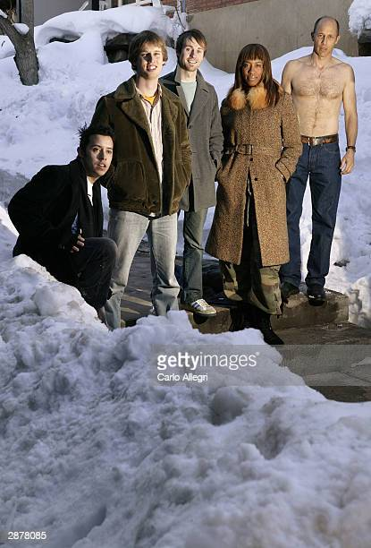 """Actors Efren Ramirez , Jon Gries, Jon Heder, Shondrella Avery and Aaron Guell of the film """"Napoleon Dynamite"""" pose for portraits during the 2004..."""