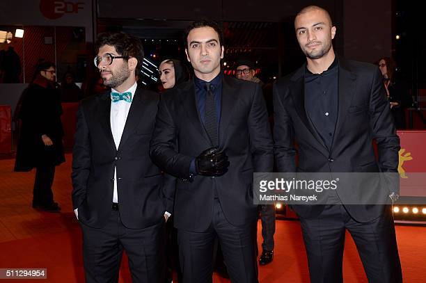 Actors Ehsan Goudarzi Homayoun Ghanizadeh and Amir Jadidi attend the 'A Dragon Arrives' premiere during the 66th Berlinale International Film...