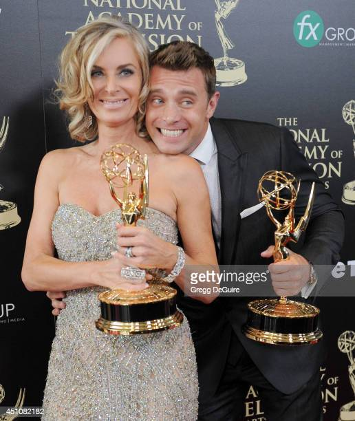 Actors Eileen Davidson and Billy Miller pose in the press room at the 41st Annual Daytime Emmy Awards at The Beverly Hilton Hotel on June 22, 2014 in...