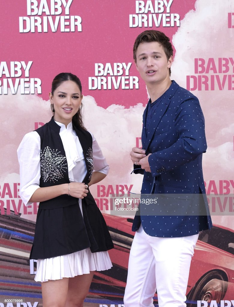 Actors Eiza Gonzalez and Ansel Elgort attend a photocall for 'Baby Driver' at the Villa Magna Hotel on June 23, 2017 in Madrid, Spain.