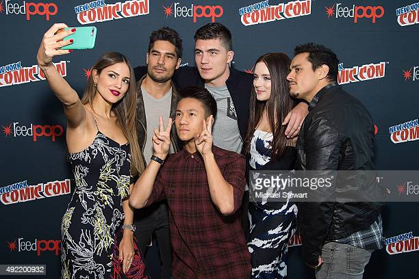 Actors Eiza Gonzalez DJ Cotrona Brandon Soo Hoo Zane Holtz Madison Davenport and Jesse Garcia pose in the press room for Marvel's 'From Dusk till...