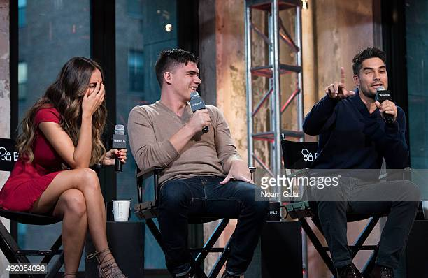 Actors Eiza Gonzalez Zane Holtz and DJ Cotrona of 'From Dusk Til Dawn The Series' attend AOL Build at AOL Studios in New York on October 9 2015 in...