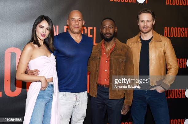 Actors Eiza González Vin Diesel Lamorne Morris and Sam Heughan attend the photocall of Sony Pictures' Bloodshot at The London Hotel on March 06 2020...