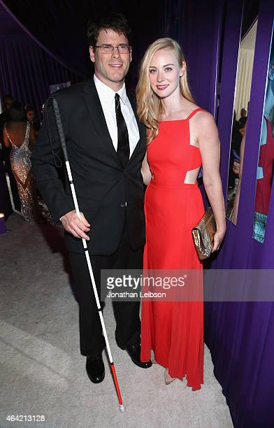 Actors EJ Scott and Deborah Ann Woll attend ROCA PATRON TEQUILA at the 23rd Annual Elton John AIDS Foundation Academy Awards Viewing Party on...