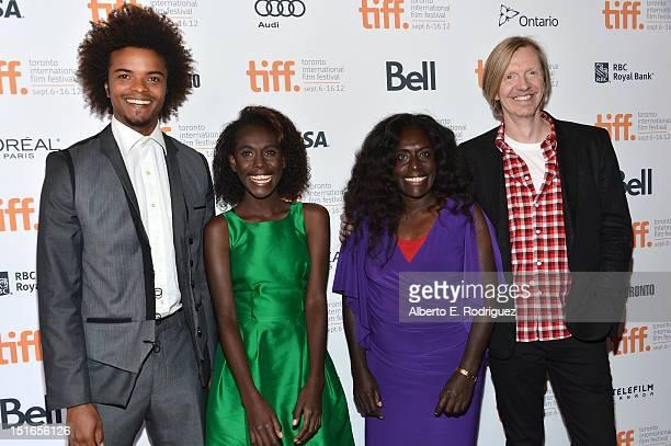 Actors Eka Darville Healesville Joel Xzannjah Matsi and director Andrew Adamson attend the Mr Pip premiere during the 2012 Toronto International Film...