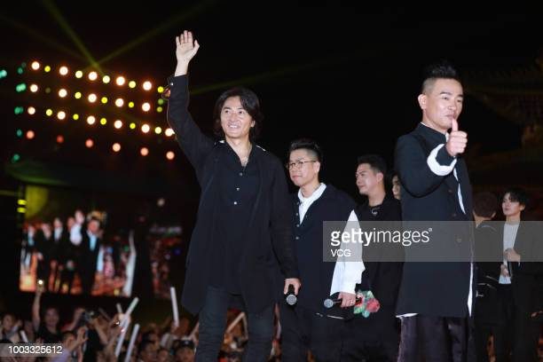Actors Ekin Cheng Jerry Lamb Hiufung Michael Tse Tinwah and Jordan Chan SiuChun perform onstage during the opening ceremony of the 4th Annual...