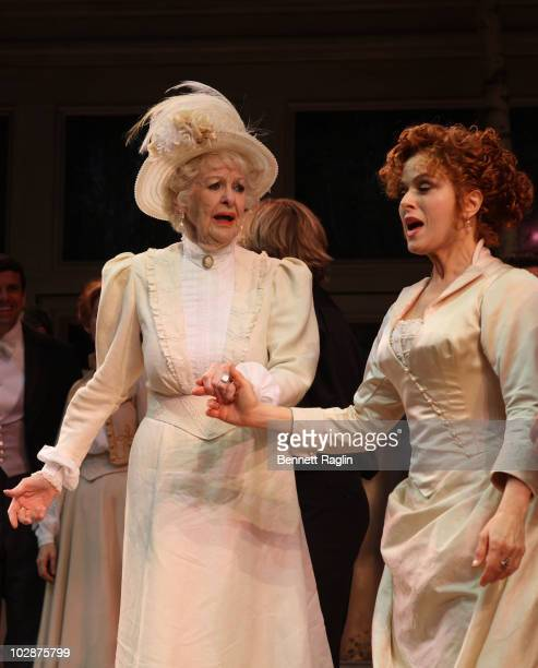 Actors Elaine Stritch and Bernadette Peters take the curtain call during their first performance in 'A Little Night Music' at Walter Kerr Theatre on...