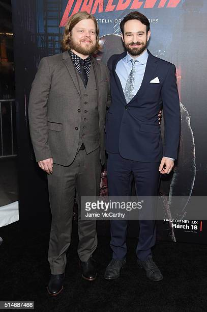 Actors Elden Henson and Charlie Cox attend the 'Daredevil' Season 2 Premiere at AMC Loews Lincoln Square 13 theater on March 10 2016 in New York City