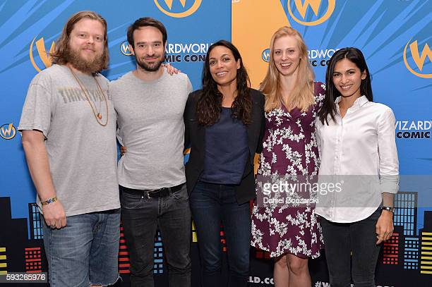 Actors Elden Henson Charlie Cox Rosario Dawson Deborah Ann Woll and Elodie Yung attend Wizard World Comic Con Chicago 2016 Day 4 at Donald E Stephens...