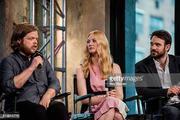 Actors Elden Henson, Deborah Ann Woll and Charlie Cox speak during AOL Build speakers series about the show Marvel's Daredevil at AOL Studios on...