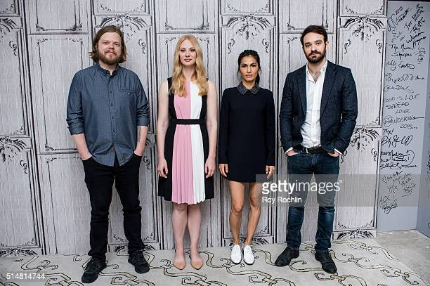 Actors Elden Henson, Deborah Ann Woll, Elodie Yung and Charlie Cox speak during AOL Build speakers series about the show Marvel's Daredevil at AOL...