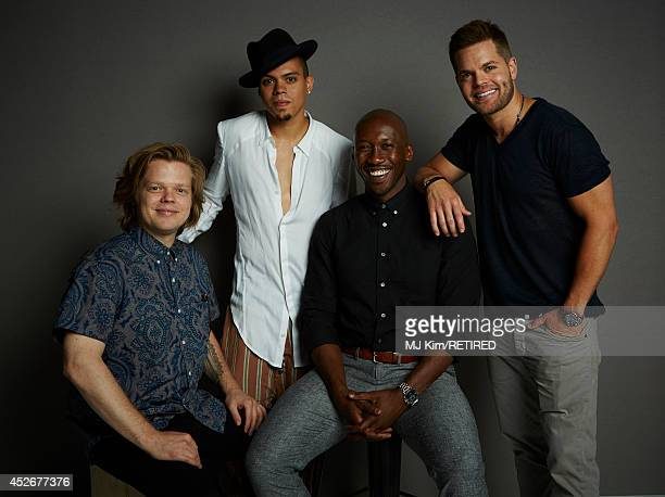 Actors Elden Henson Evan Ross Mahershala Ali and Wes Chatham pose for a portrait at the Getty Images Portrait Studio powered by Samsung Galaxy at...