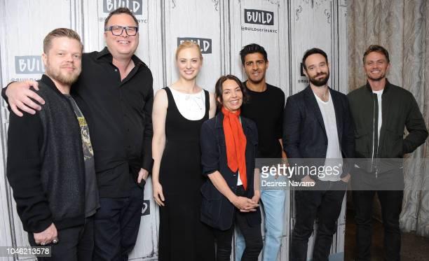 Actors Elden Henson writer Erik Oleson Deborah Ann Woll Joanne Whalley Jay Ali Charlie Cox and Wilson Bethel attend Build Series to discuss Netflix...