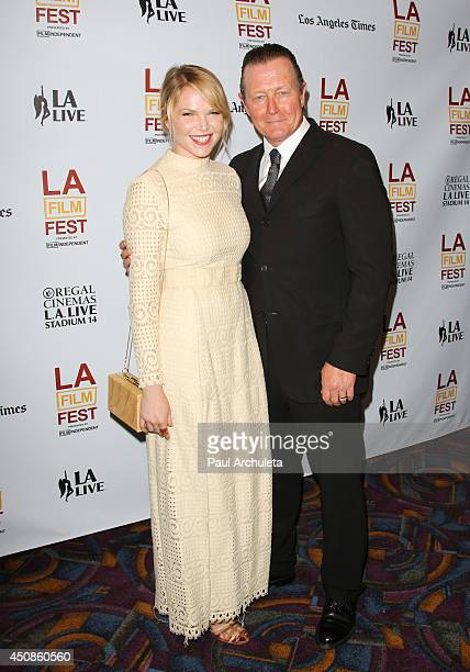 "Actors Eleanor Wells and Robert Patrick attend the premiere of ""The Road Within"" at the 2014 Los Angeles Film Festival at Regal Cinemas L.A. Live on..."