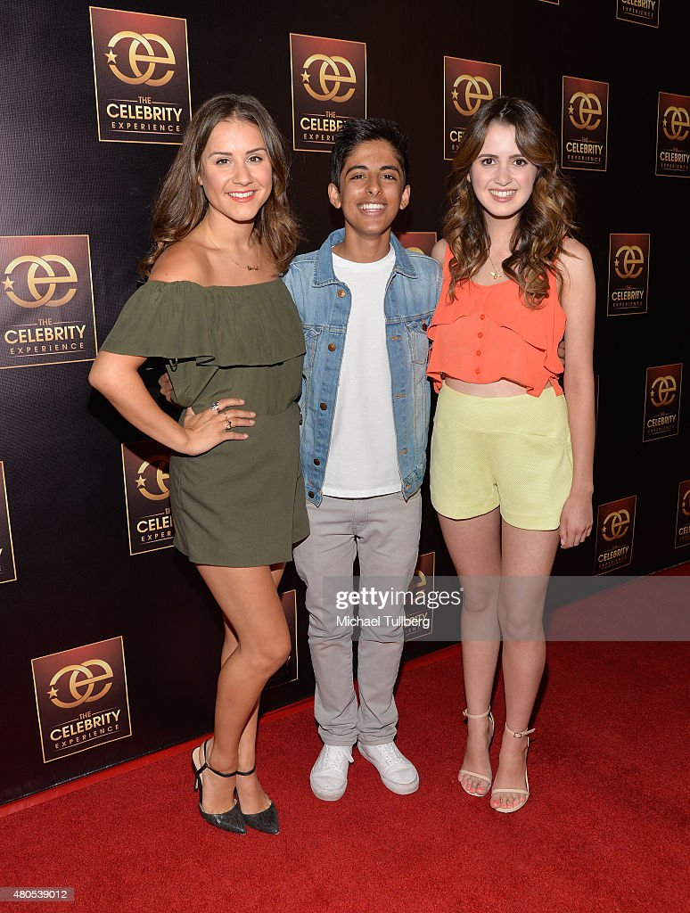 Actors Electra Formosa, Karan Brar and Laura Marano attend The Celebrity Experience Panel at Hilton Universal City on July 12, 2015 in Universal City, California.