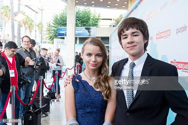 "Actors Elena Lazorishak and David Pokorny arrive for the Red Carpet Premiere Of Stadium Media's ""The Matchbreaker"" at the ArcLight Cinemas Cinerama..."