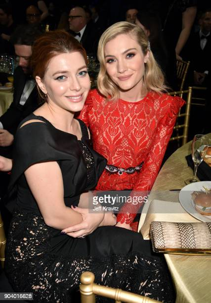 Actors Elena Satine and Skyler Samuels attend The 23rd Annual Critics' Choice Awards at Barker Hangar on January 11 2018 in Santa Monica California