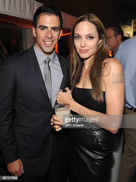 Actors Eli Roth and Angelina Jolie attend attends the Weinstein Co Presents Inglourious Basterds after party at the Mondrian Hotel on August 10 2009...