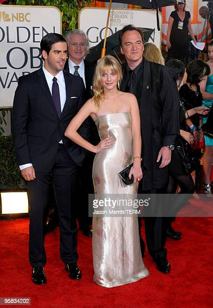 Actors Eli Roth and Melanie Laurent and director Quentin Tarantino arrive at the 67th Annual Golden Globe Awards held at The Beverly Hilton Hotel on...
