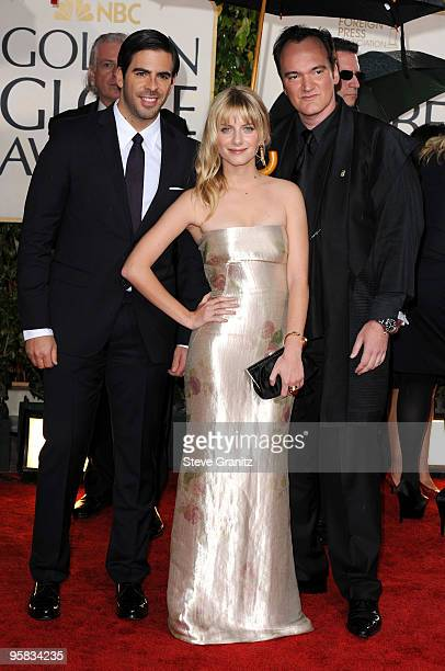 Actors Eli Roth and Melanie Laurent and director Quentin Tarantino arrive at the 67th Annual Golden Globe Awards at The Beverly Hilton Hotel on...