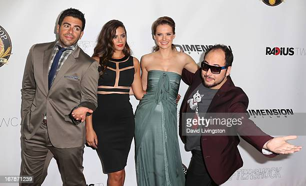 Actors Eli Roth Lorenza Izzo and Andrea Osvart and director Nicolas Lopez attend the premiere of Dimension Films and RADiUSTWC's AFTERSHOCK at Mann...